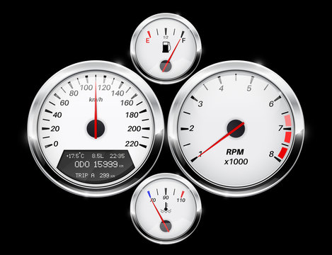 Speedometer, tachometer, fuel and temperature gage. Car dashboard