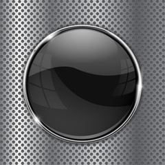 Black glass button on metal background