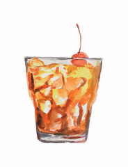 Isolated watercolor cocktail. Isolated glass with alcohol drink on white background. Cherry.