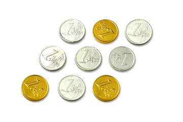 chocolate euro coins as a concept for finance, isolate on white