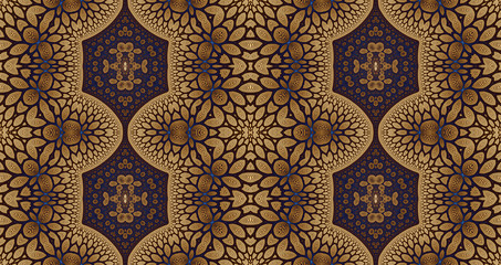 Abstract fractal high resolution seamless pattern background ideal for carpets, tapestries, fabric and wallpapers with a detailed abstract flower pattern in a grid in dark vivid colors