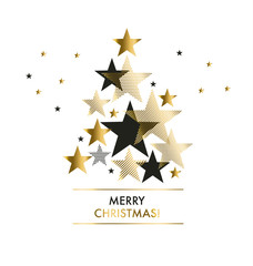 abstract background with gold geomerty style stars for Christmas