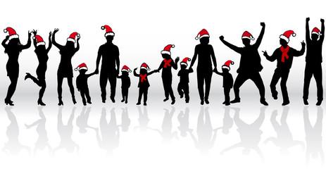 Silhouettes families in santa caps.