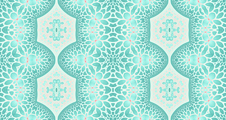 Abstract fractal high resolution seamless pattern background ideal for carpets, tapestries, fabric and wallpapers with a detailed abstract flower pattern in a grid in bright pastel colors