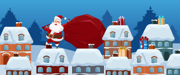 Merry Christmas. Santa Claus carries a bag of gifts on the roof. Christmas and Happy New Year. Cartoon Vector Illustration
