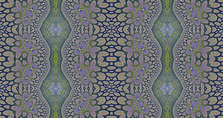 Abstract fractal high resolution seamless pattern background ideal for carpets, tapestries, fabric and wallpapers with a detailed abstract flower pattern in a lattice style pillars
