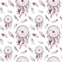 Łapacz snów i wzór piór. Dekoracja artystyczna akwarela - 128449256