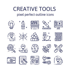 CREATIVE TOOLS : Outline icons , pictogram and symbol collection.