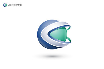 Abstract Letter C 3D Sphere Logo
