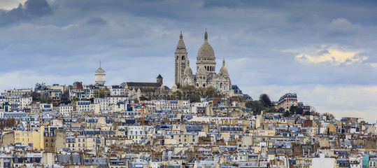 Montmartre and Sacre-Coeur church, Paris citiscape view over the
