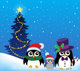 Stylized Christmas penguins theme 2