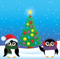 Stylized Christmas penguins theme 4
