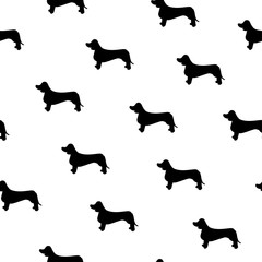 Seamless pattern with cute dachshund. Silhouette