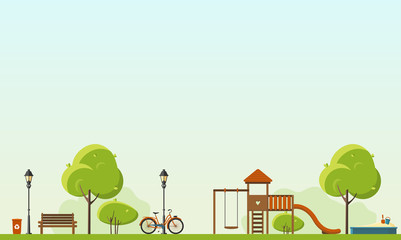 Public park. Vector Flat illustration. Easy to make pattern.