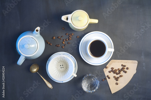 Cup Of Coffeecoffee Potscoffee Filter Vintage Objects Flat Lay