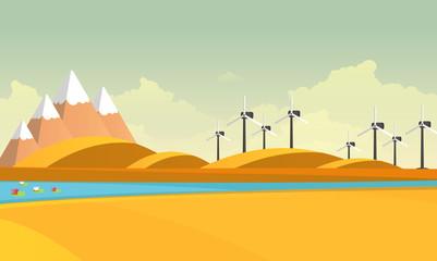 Eco lifestyle autumn background. Flat design vector concept illustration.