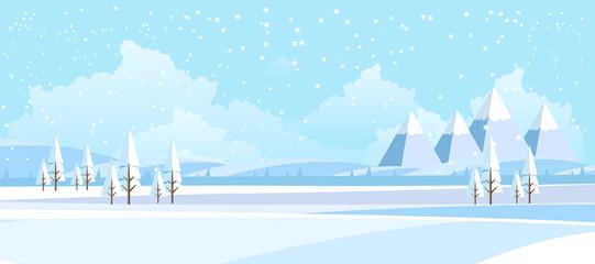 Photo sur Plexiglas Piscine Winter Landscape Background. Flat Vector Illustration