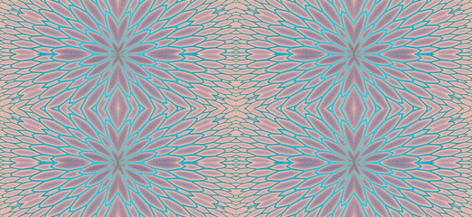 Abstract fractal high resolution seamless pattern background ideal for carpets, tapestries, fabric and wallpapers with a detailed repeating geometric flower like   pattern in pastel colors
