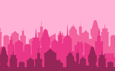 Set of cityscape background. Vector illustration