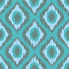 seamless pattern Tribal Art Ikat Ogee in traditional classic blue and mint grey colors vector