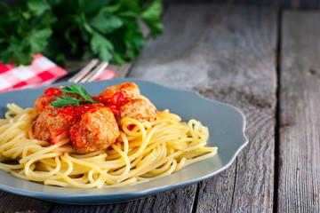 Pasta with meatballs turkey