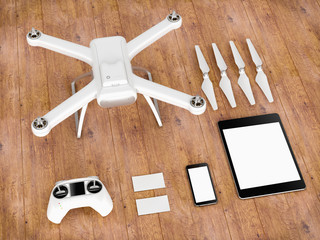 Drone with control devices. 3D illustration.