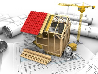 3d illustration of crane over drawing rolls background with frame house structure