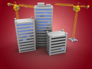 3d illustration of two cranes over red background with city