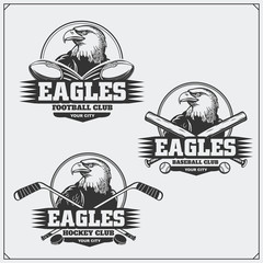 Football, baseball and hockey logos and labels. Sport club emblems with eagle.