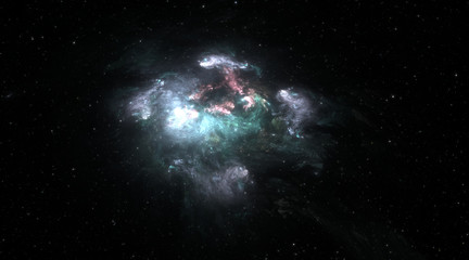 Space background with gas nebula and stars. Glowing nebula is the remnant of a supernova explosion