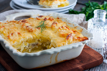 Fish And Fennel Potato Pie with Crunchy Potato Topping