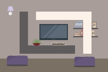 Home cinema in the living room interior. There is a TV, curbstone, shelves, flower, books, lamp in the picture. Vector flat illustration