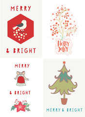 Hand drawn Happy Holiday,Merry and Bright.Festival motifs of berries,dove,bell,poinsettia for Christmas or New Year Card