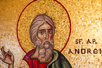 Vienna, Austria, 2016/11/26. Mosaic icon of saint Andrew the Apostle. The gift for Joseph Cardinal Schonborn the Roman Catholic Archbishop of Vienna, from Orthodox Patriarch Daniel of Romania.