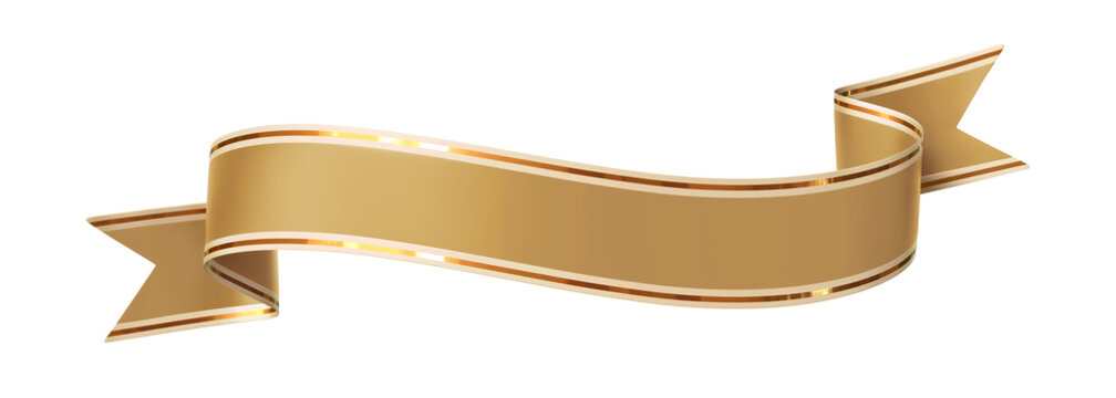 Curled golden ribbon banner with gold border - arc up and down with wavy ends
