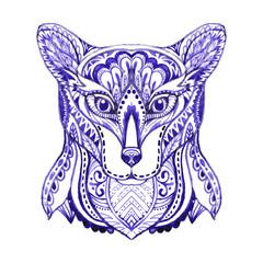 Watercolor zen tangle wolf.