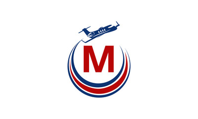 Airplane Logo Initial M