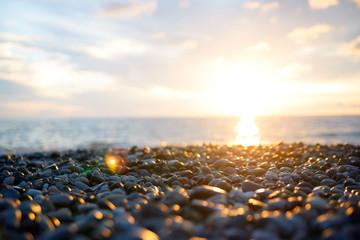 sunset on pebble beach