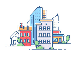 City with high buildings for housing. Color apartment house. Vector illustration