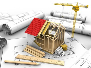 3d illustration of frame house construction over house plan background with crane