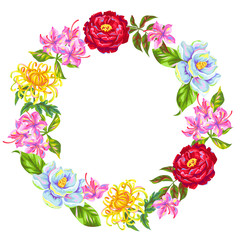 Wreath with China flowers. Bright buds of magnolia, peony, rhododendron and chrysanthemum