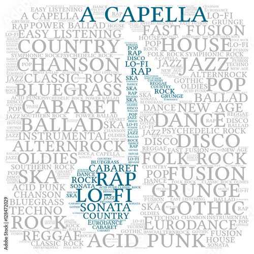 Acapella  Word cloud, musical notes, gray font, white
