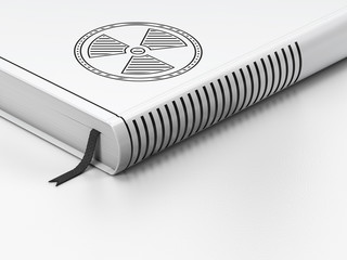 Science concept: closed book, Radiation on white background