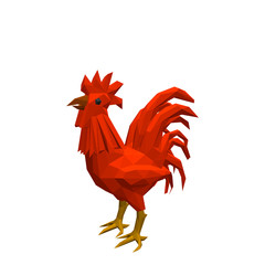 Polygonal cock. Isolated on white background. 3d Vector illustra