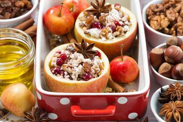 preparation of baked apples, horizontal