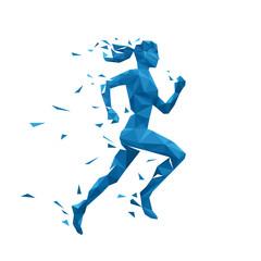 Active running woman vector illustration. Energy jogging design