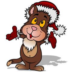 Cute Cat with Santa Hat - Christmas Cartoon Illustration, Vector