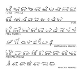 Vector line set of silhouettes animals.