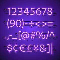 Glowing Neon Violet Numbers