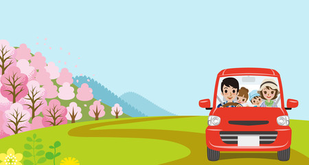 Car Driving in Spring nature, Young Family  - Front view